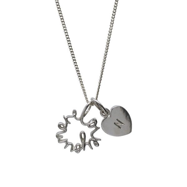 'Love You More' and personalised Love Heart in Sterling Silver
