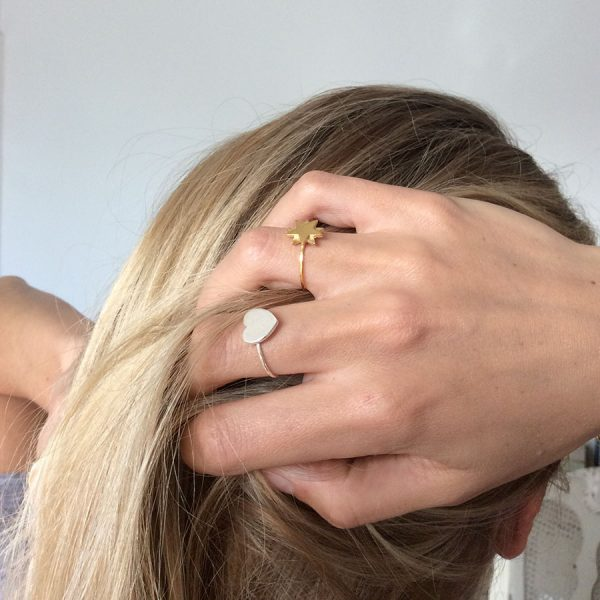 Gold Vermeil Starbright Ring and Sterling Silver Love Heart Ring