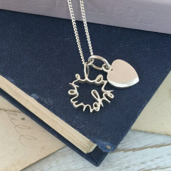 'Love You More' and Love Heart in Sterling Silver