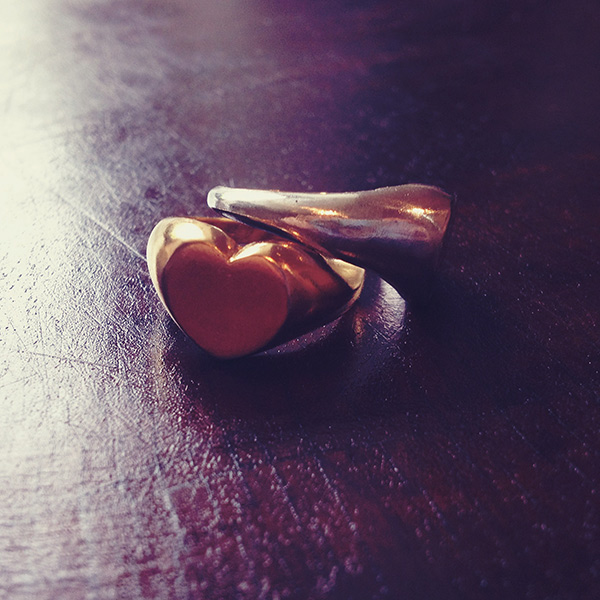 Sterling Silver and Gold Vermeil Heart Signet Ring