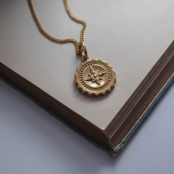 Compass Midi Initial Necklace in Gold Vermeil