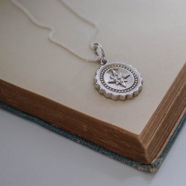 Compass Midi Initial Necklace in Sterling Silver