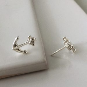 Anchor Stud Earrings in Sterling Silver