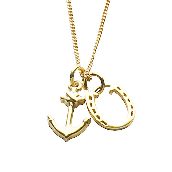 Anchor and Horseshoe Necklace Gold