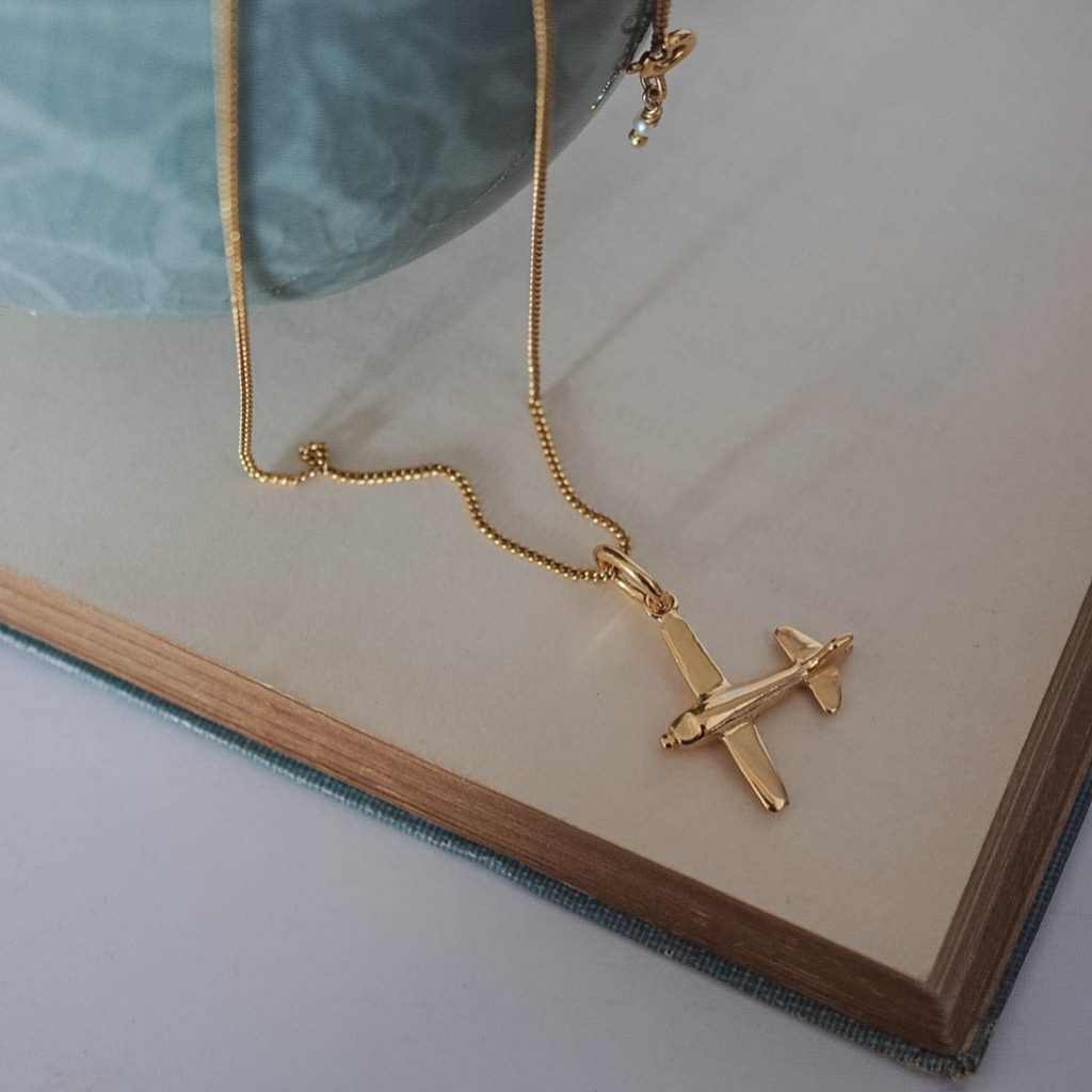Airplane Necklace In Silver Or Gold Vermeil Bianca Jones