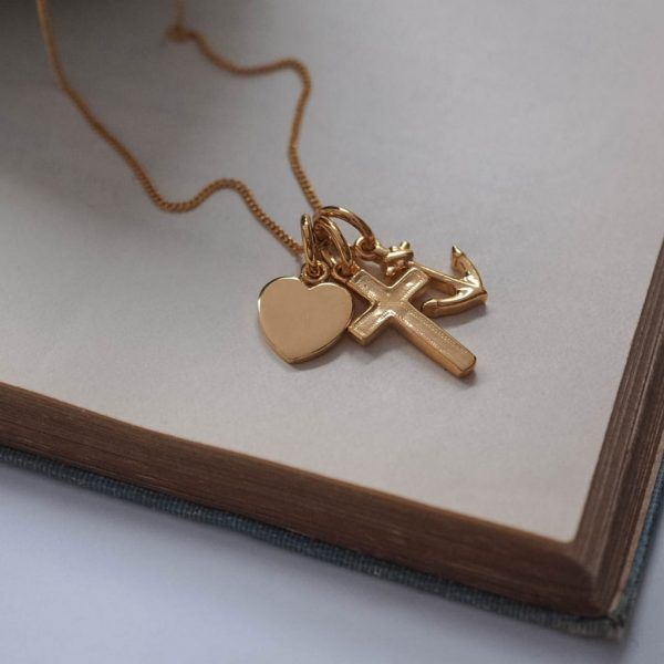 Faith, Hope, Charity Necklace in Gold Vermeil by Bianca Jones Jewellery