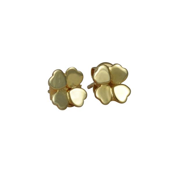 Four Leaf Clover Stud Earrings in Gold