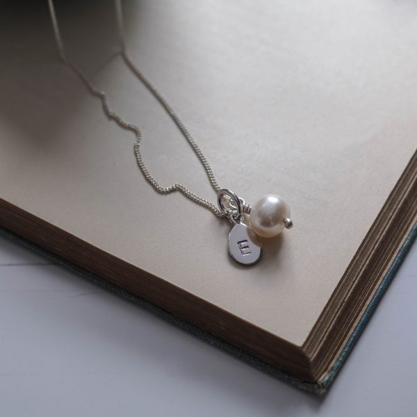 Alphabet Letter Charm and Pearl Necklace in Sterling Silver Bianca Jones Jewellery