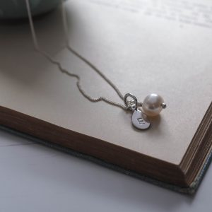 Alphabet Letter Charm and Pearl Necklace in Sterling Silver