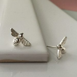 Bee Stud Earrings in Sterling Silver