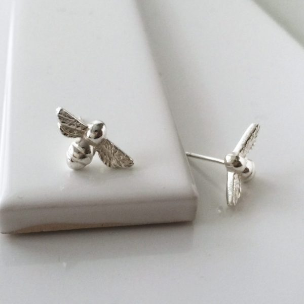 Bee Stud Earrings in Sterling Silver