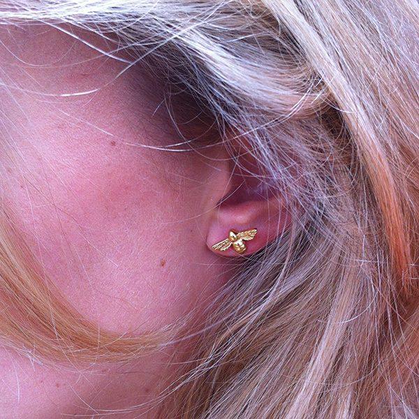 Bumblebee Stud Earrings In Gold Vermeil by Bianca Jones Jewellery