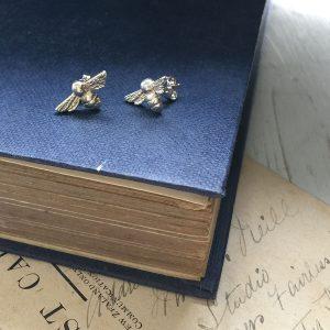 Bumble Bee Stud Earrings in Silver by Bianca Jones Jewellery