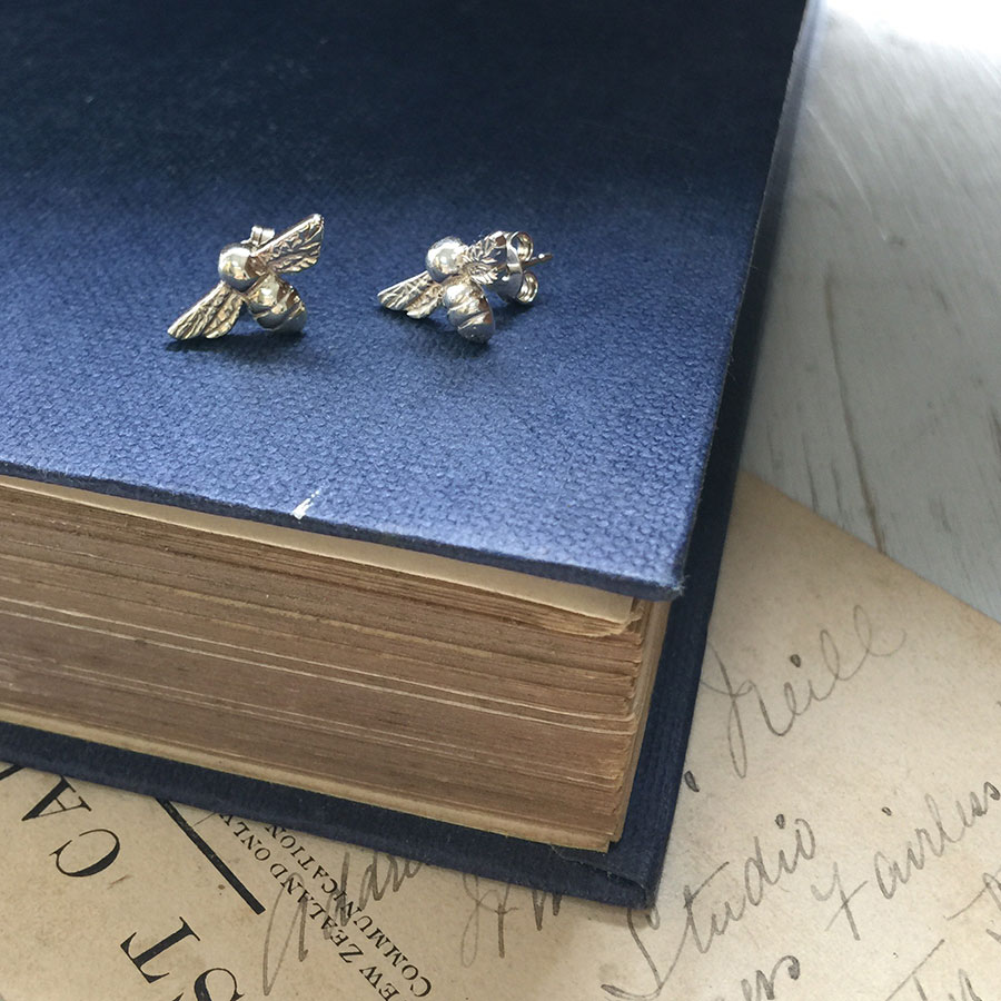 Bumble Bee Stud Earrings in Silver by Bianca Jones Jewellery