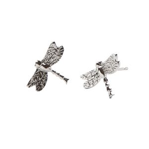 Silver Dragonfly Stud Earrings