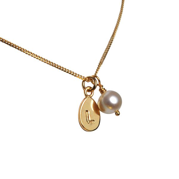 Alphabet Charm & Pearl Pendant in Gold