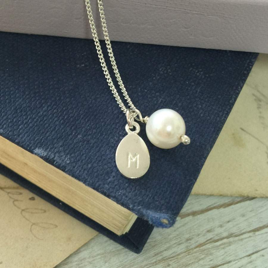 alphabet letter charm and pearl necklace