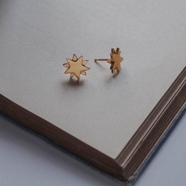 Starbright Stud Earrings in Gold Vermeil by Bianca Jones Jewellery