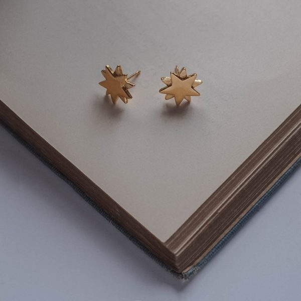 Starbright Stud Earrings in Gold Vermeil by Bianca Jones Jewellery