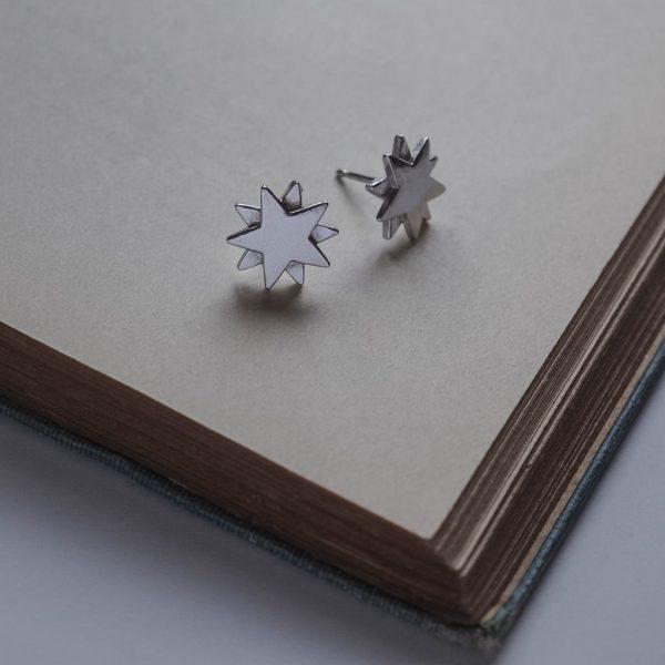 Starbright Stud Earrings in Sterling Silver by Bianca Jones Jewellery