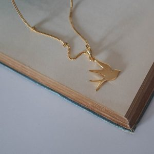 Swallow Necklace in gold vermeil