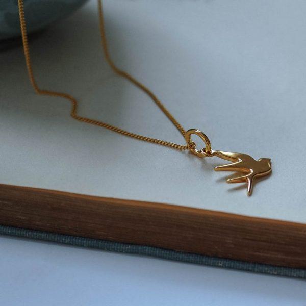 Swallow Necklace Gold Vermeil