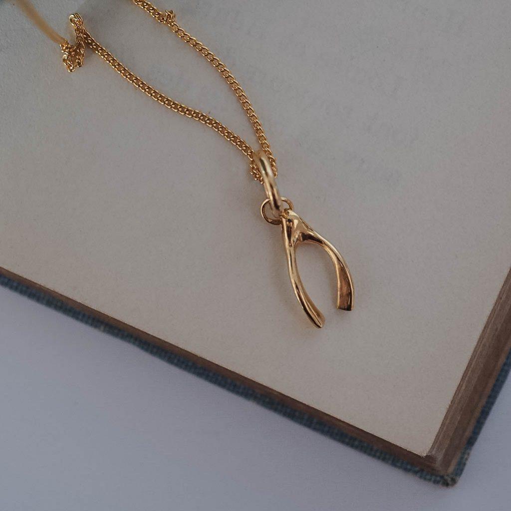 444dec40b35c1 Wishbone Necklace in Silver or Gold Vermeil