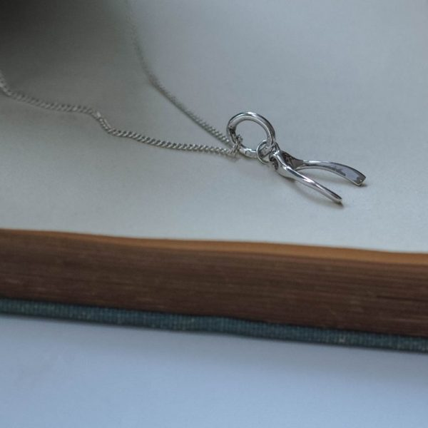 Wishbone Necklace in Silver