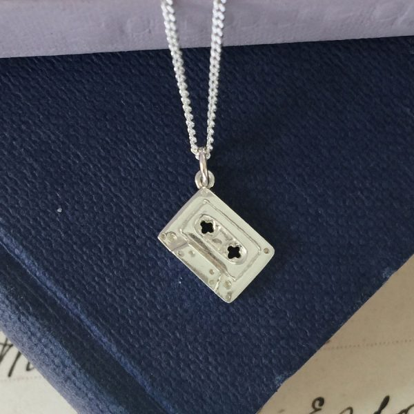 Sterling Silver Cassette Tape Necklace