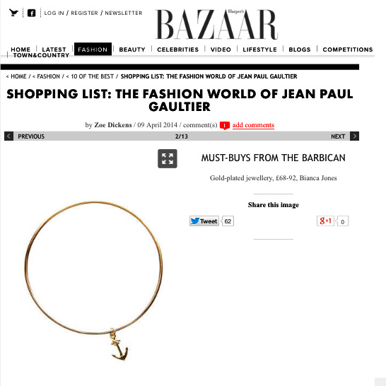 Harpers Bazaar Anchor Bangle hits Must Buy List