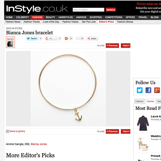 Instyle Gold Anchor Bangle