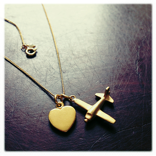 Love heart and Aeroplane Necklace