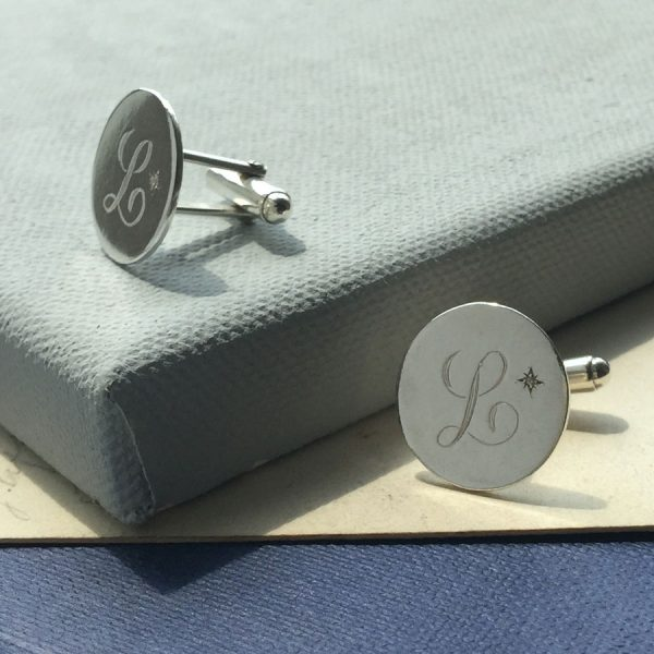 Diamond Initial Cufflinks