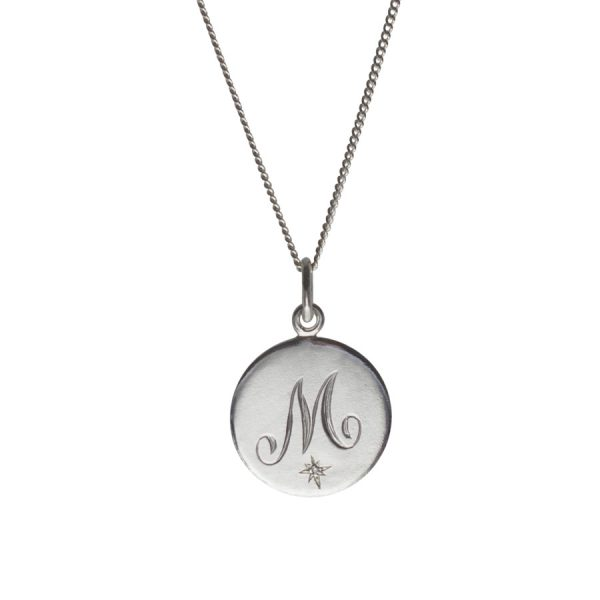 Diamond Initial M in Sterling Silver