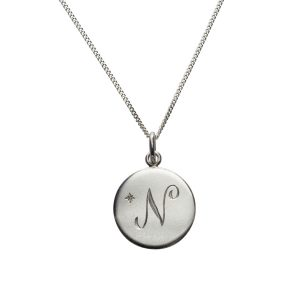 Diamond Initial N in Sterling Silver