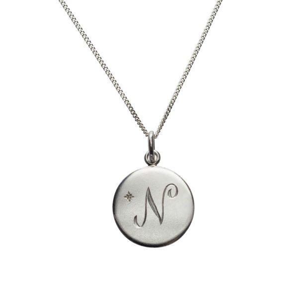 Diamond Initial N in Sterling Silver