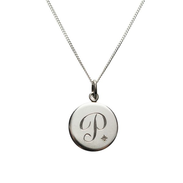 Diamond Initial P in Sterling Silver