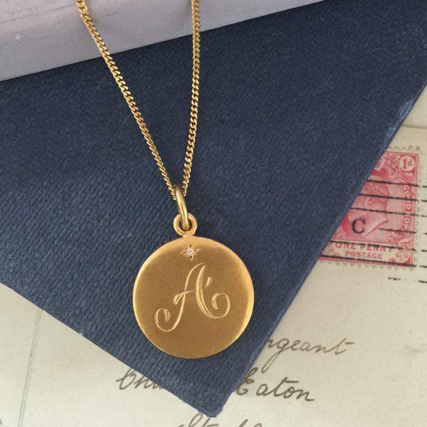 Diamond Initial A in Gold Vermeil