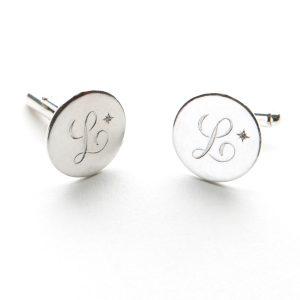Diamond Initial Cufflinks in Sterling Silver
