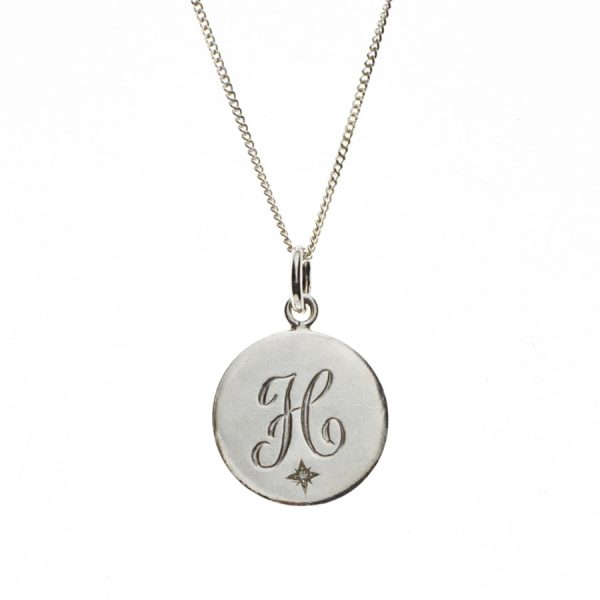 Diamond Initial H in Sterling Silver