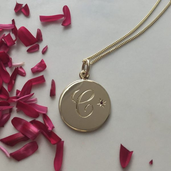 Birthstone Initial Gold Necklace