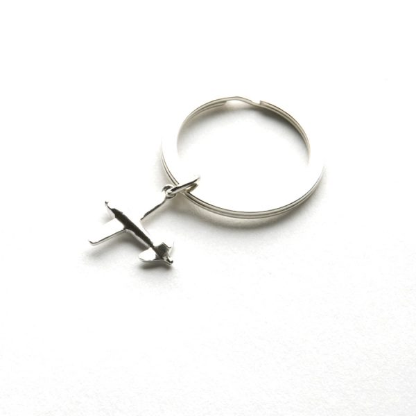 Airplane Keyring in Sterling Silver