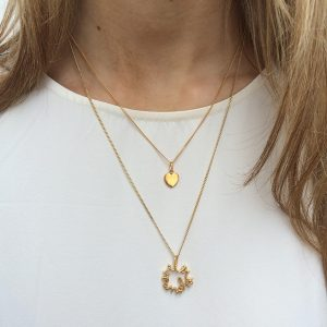'Love You More' Large Necklace and Love Heart Necklace in Gold