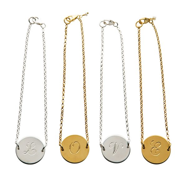 LOVE Initial Bracelet in Sterling Silver and Gold