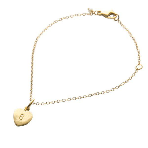 Letter Love Heart Bracelet in Gold Vermeil