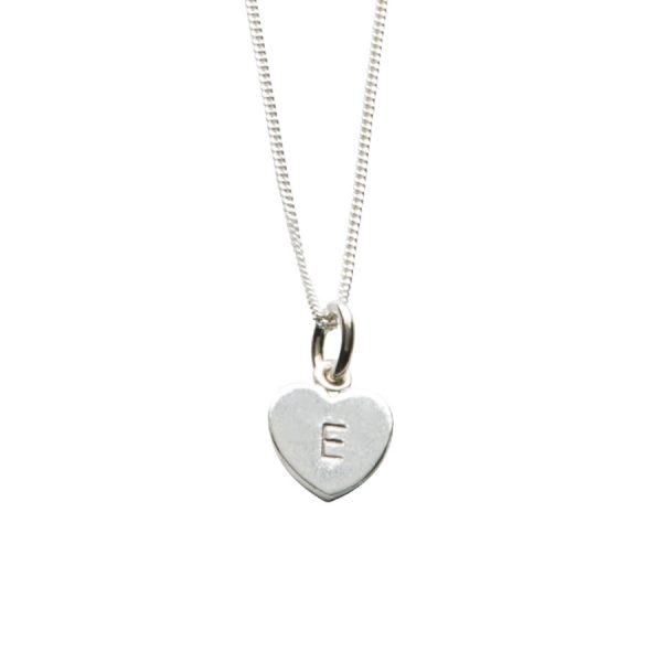 Letter Love Heart Necklace in Sterling Silver