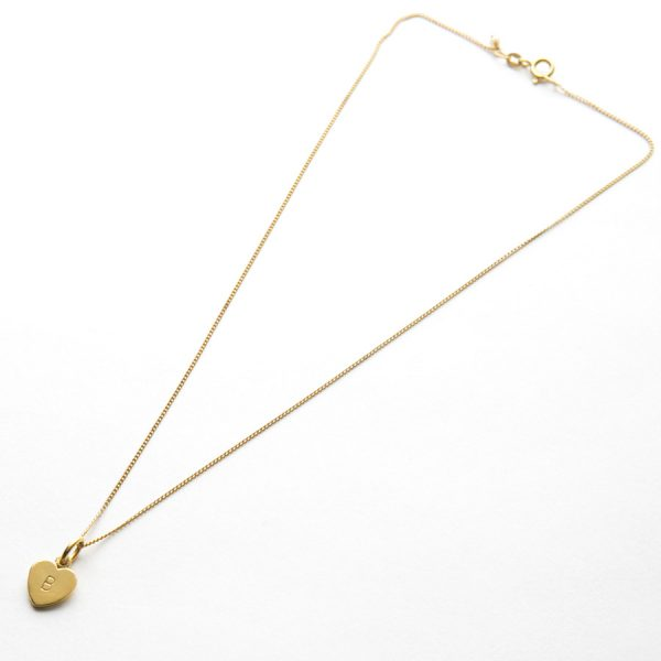 Letter Love Heart Necklace in Gold