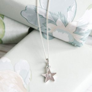 Alphabet Star Letter Necklace in Sterling Silver