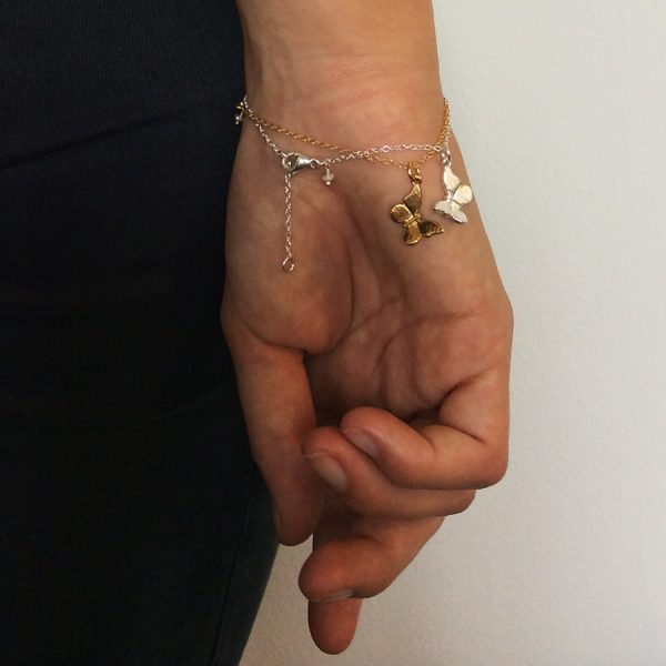 Baby Butterfly Bracelet in Sterling Silver and Gold Vermeil