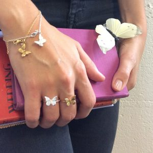 Baby Butterfly Ring in Sterling Silver and Gold Vermeil